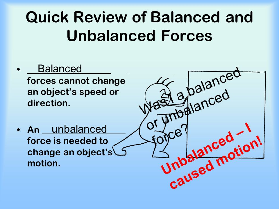 Quick Review of Balanced and Unbalanced Forces