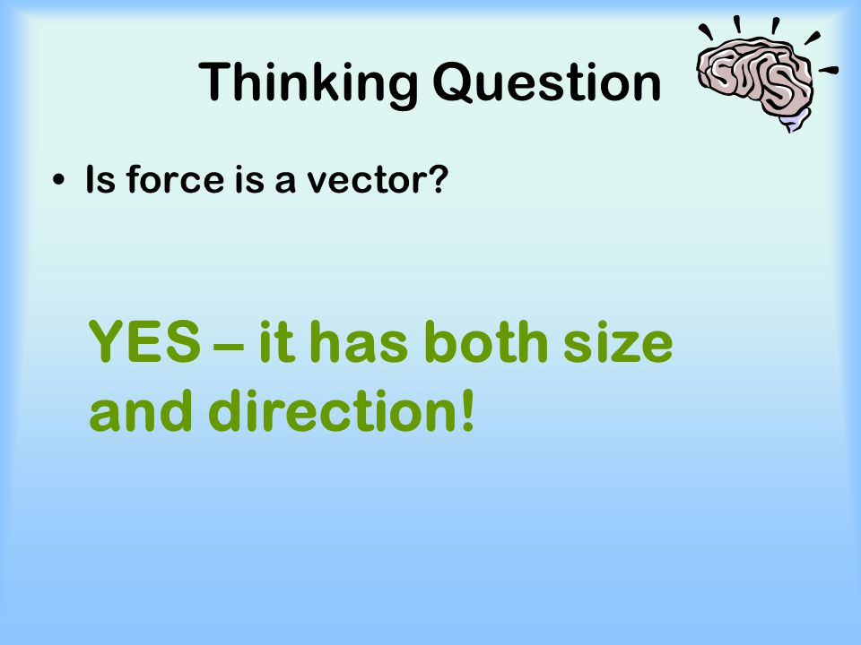 YES – it has both size and direction!