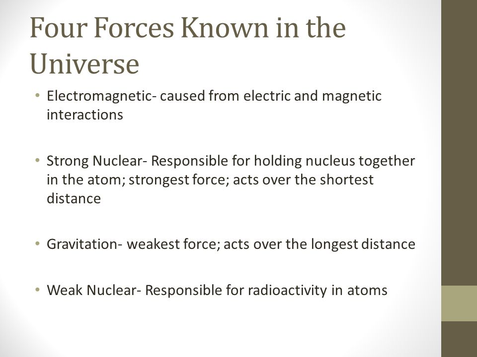 Four Forces Known in the Universe