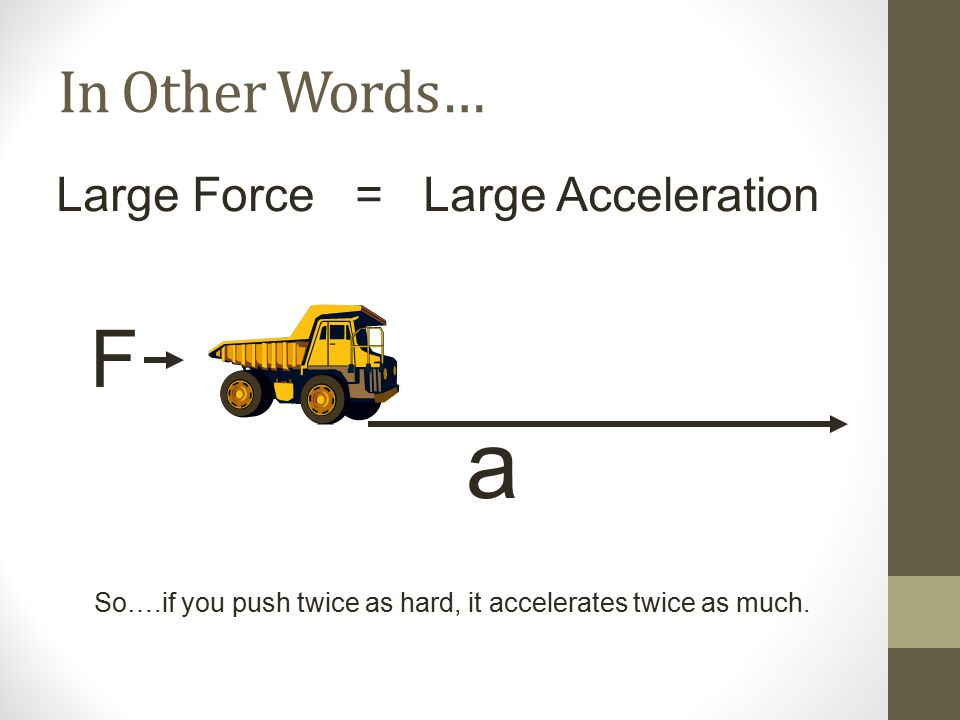 So….if you push twice as hard, it accelerates twice as much.