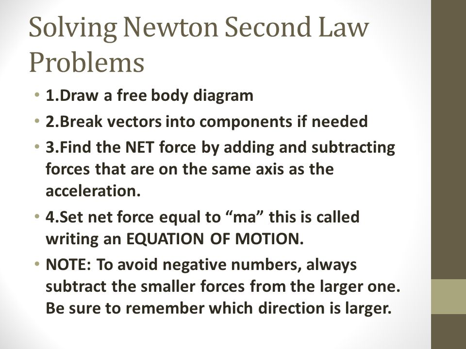Solving Newton Second Law Problems