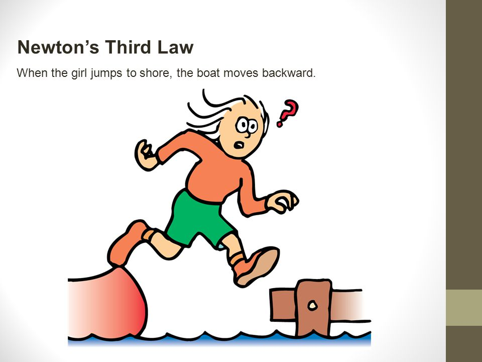 Newton's Third Law When the girl jumps to shore, the boat moves backward.