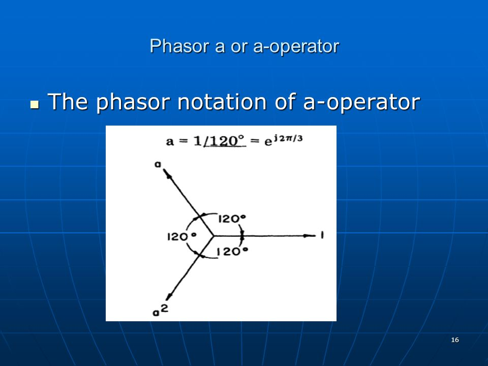 The phasor notation of a-operator