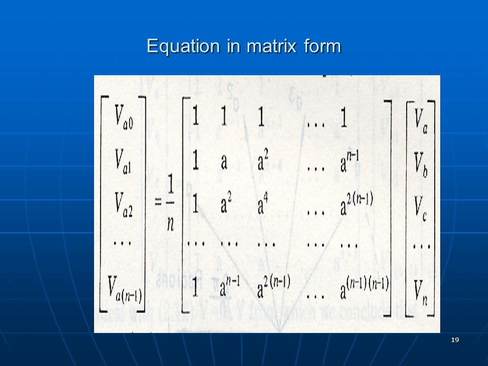 Equation in matrix form