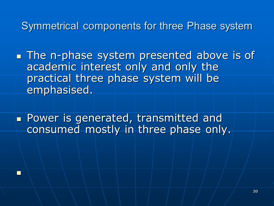 Symmetrical components for three Phase system