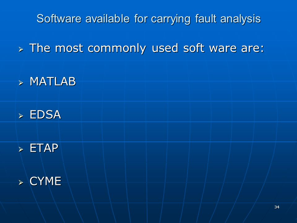 Software available for carrying fault analysis