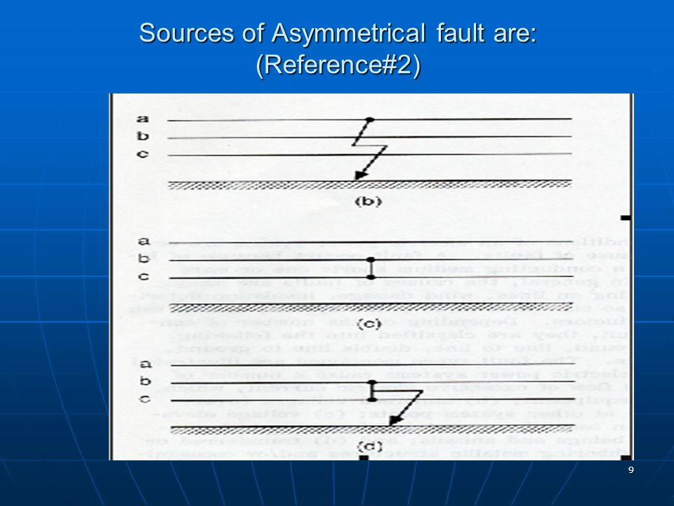 Sources of Asymmetrical fault are: (Reference#2)