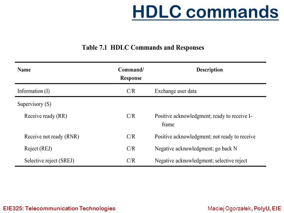HDLC commands EIE325: Telecommunication Technologies