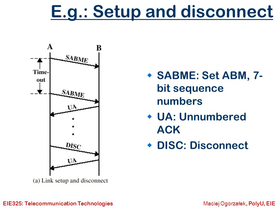 E.g.: Setup and disconnect