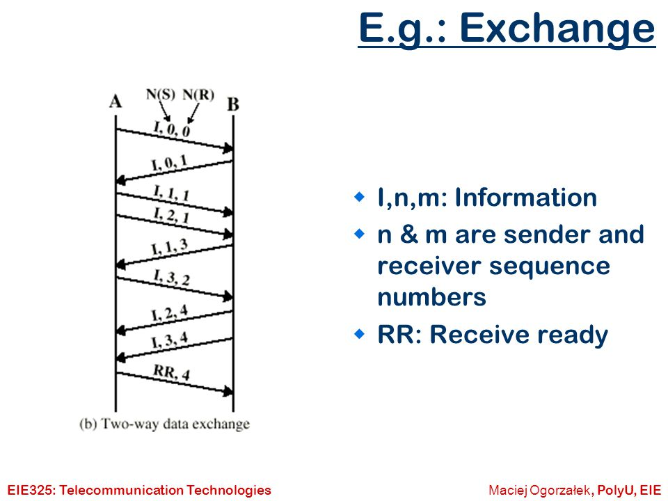 E.g.: Exchange I,n,m: Information