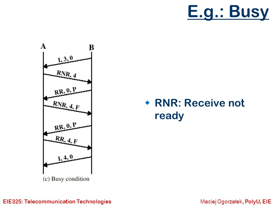 E.g.: Busy RNR: Receive not ready