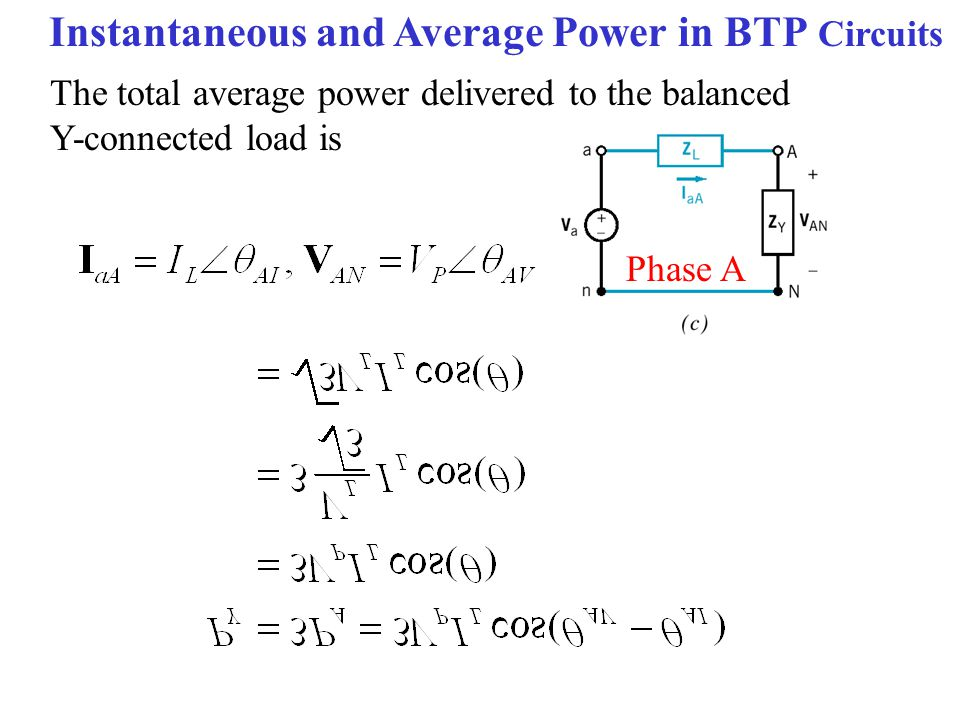 Instantaneous and Average Power in BTP Circuits