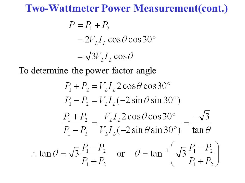 Two-Wattmeter Power Measurement(cont.)
