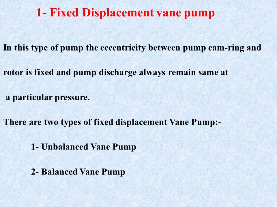 1- Fixed Displacement vane pump