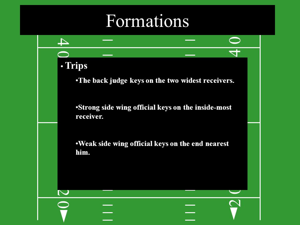 Formations 4. 4. Trips. The back judge keys on the two widest receivers. Strong side wing official keys on the inside-most receiver.