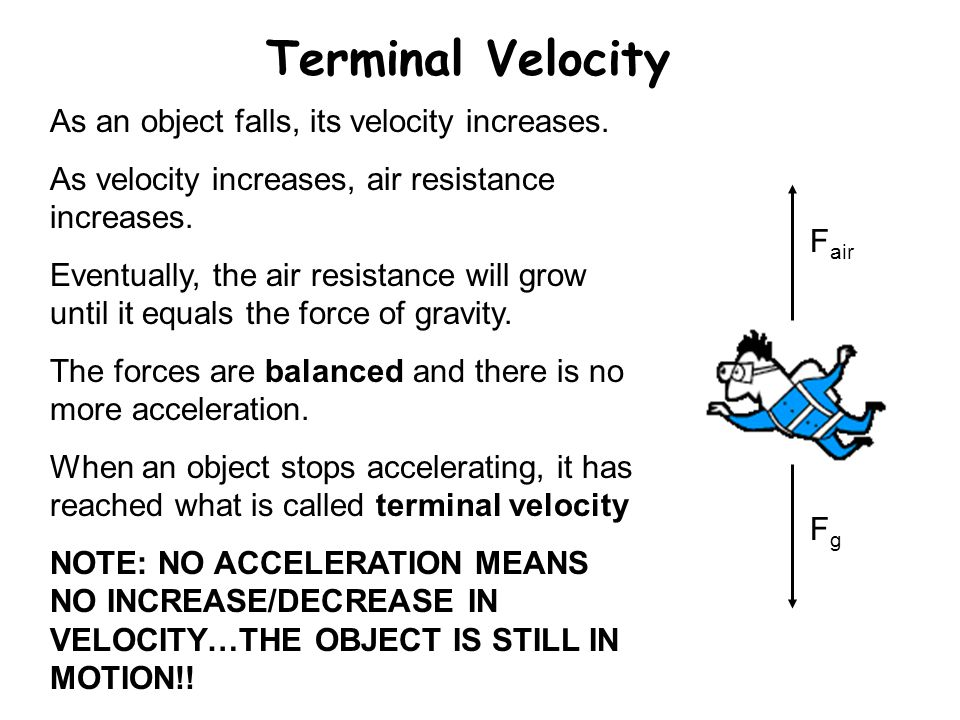 Terminal Velocity As an object falls, its velocity increases.