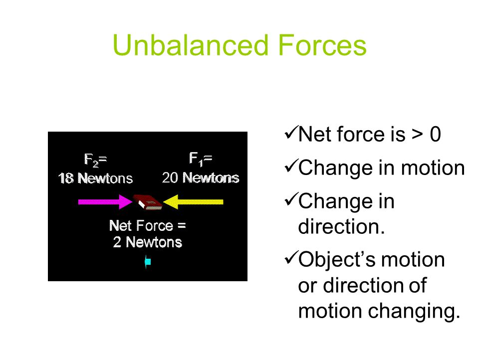 Unbalanced Forces Net force is > 0 Change in motion