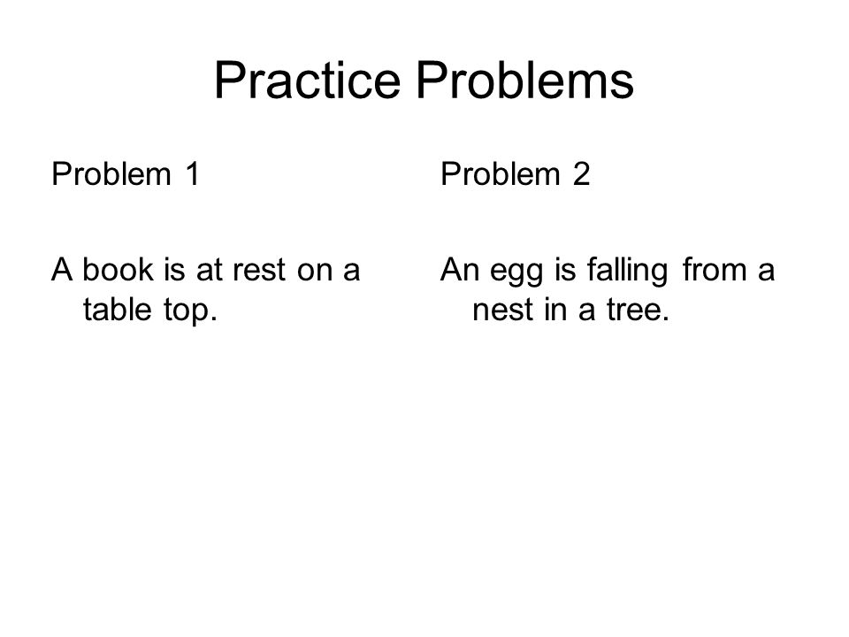Practice Problems Problem 1 A book is at rest on a table top.