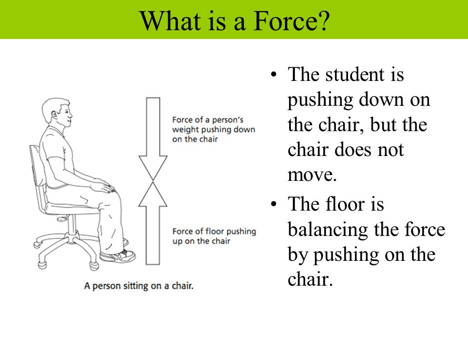 What is a Force. The student is pushing down on the chair, but the chair does not move.