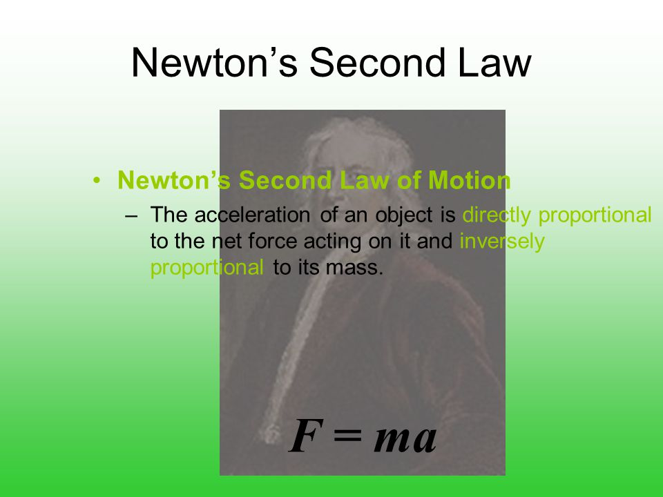 F = ma Newton's Second Law Newton's Second Law of Motion