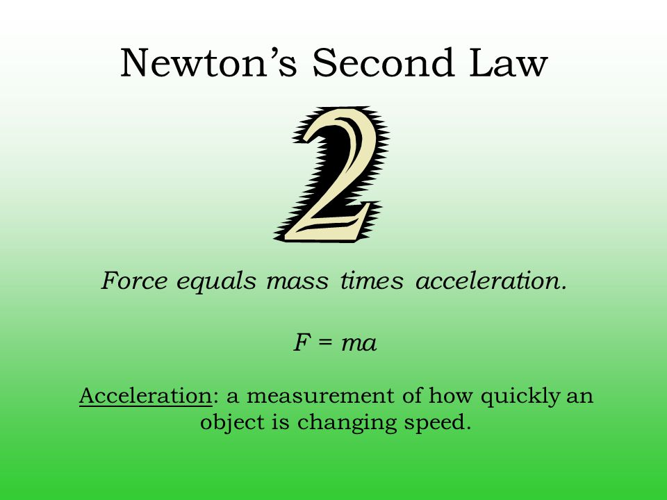 Force equals mass times acceleration.