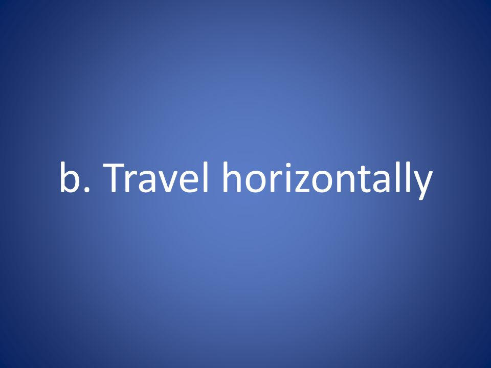 b. Travel horizontally