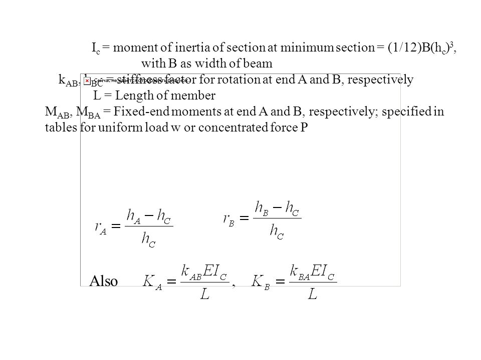 Ic = moment of inertia of section at minimum section = (1/12)B(hc)3,