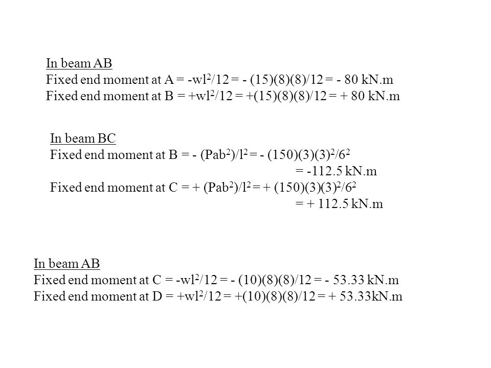 In beam AB Fixed end moment at A = -wl2/12 = - (15)(8)(8)/12 = - 80 kN.m. Fixed end moment at B = +wl2/12 = +(15)(8)(8)/12 = + 80 kN.m.