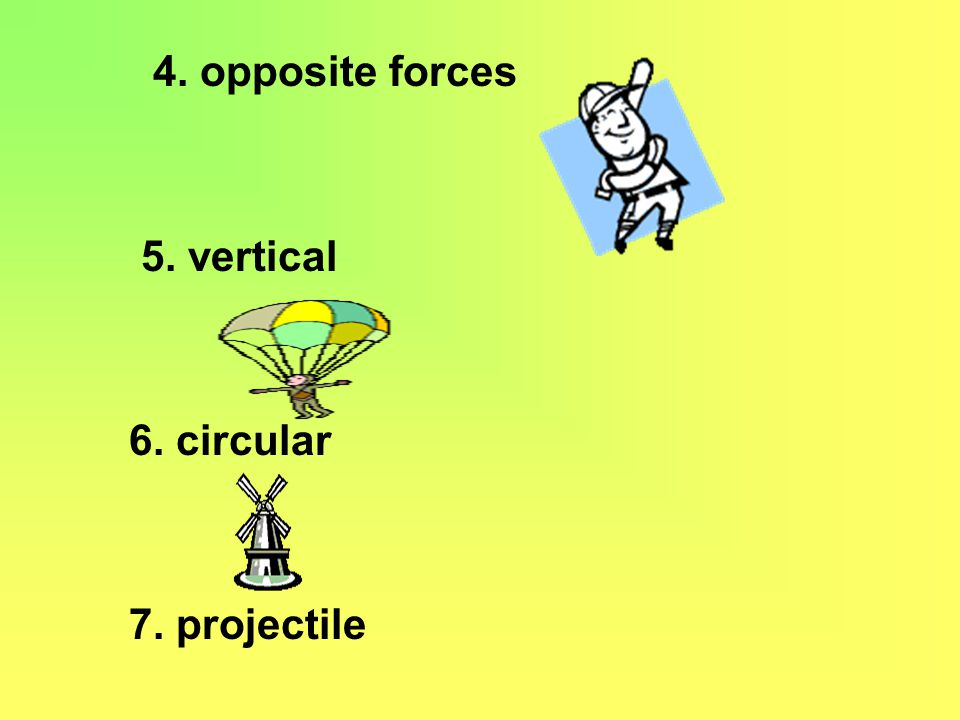 4. opposite forces 5. vertical 6. circular 7. projectile