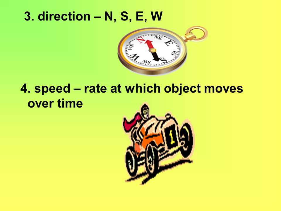 3. direction – N, S, E, W 4. speed – rate at which object moves over time