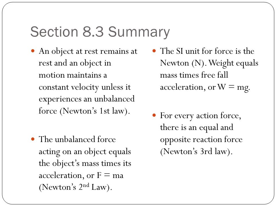 Section 8.3 Summary