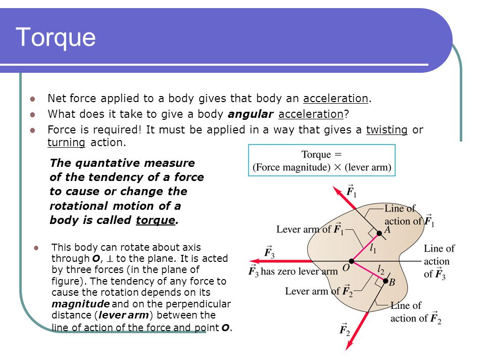 Torque Net force applied to a body gives that body an acceleration.