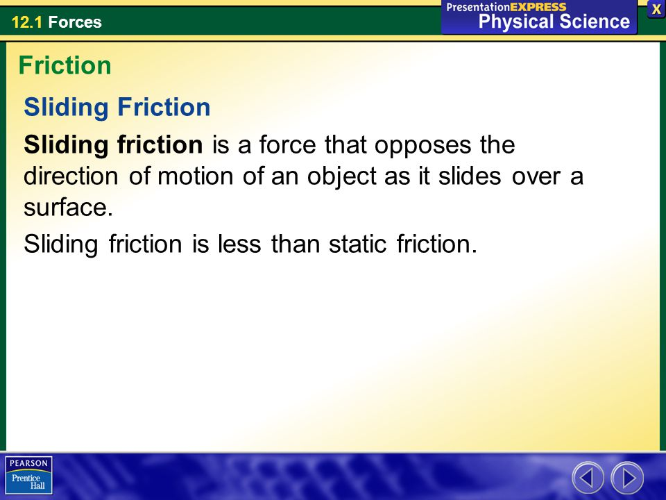 Friction Sliding Friction. Sliding friction is a force that opposes the direction of motion of an object as it slides over a surface.