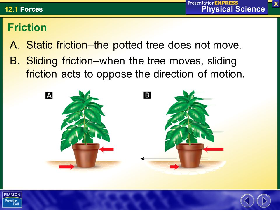 Friction Static friction–the potted tree does not move.
