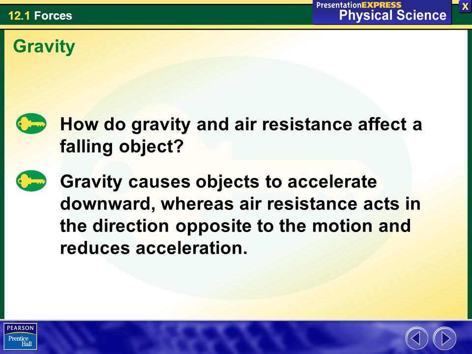 Gravity How do gravity and air resistance affect a falling object