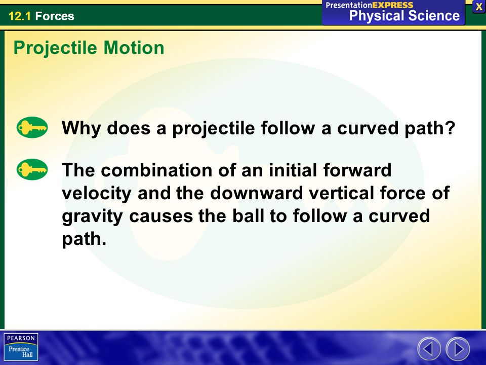 Projectile Motion Why does a projectile follow a curved path