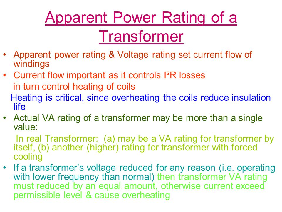 Apparent Power Rating of a Transformer