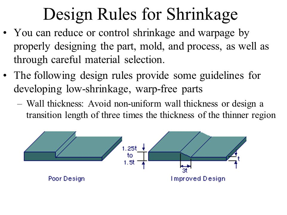 Design Rules for Shrinkage