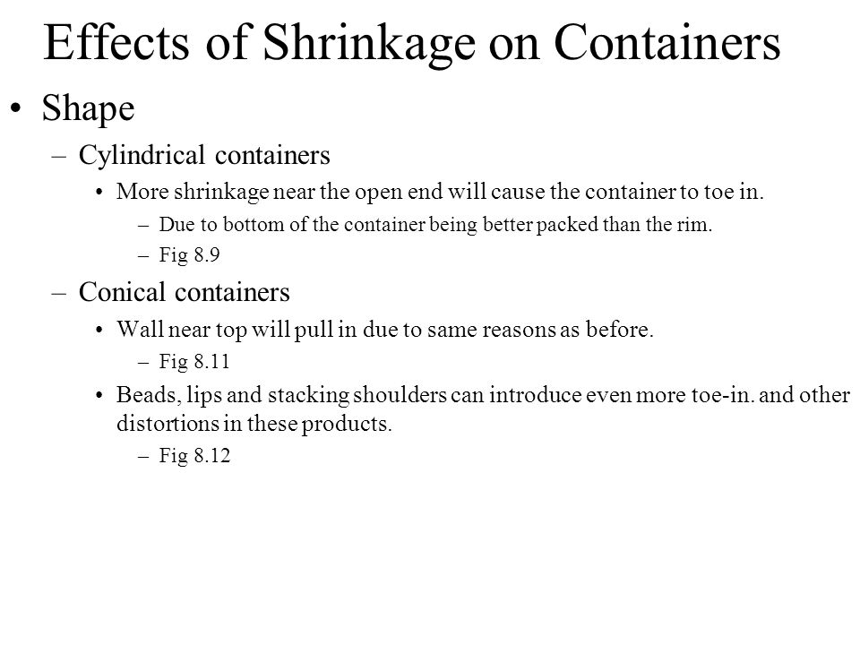 Effects of Shrinkage on Containers