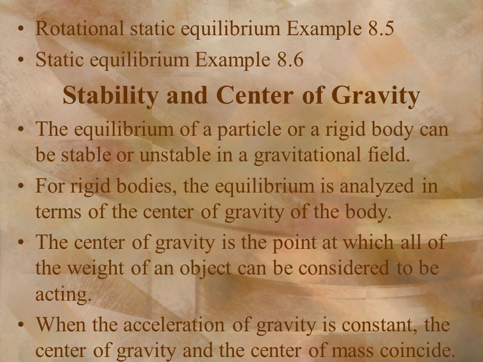 Stability and Center of Gravity
