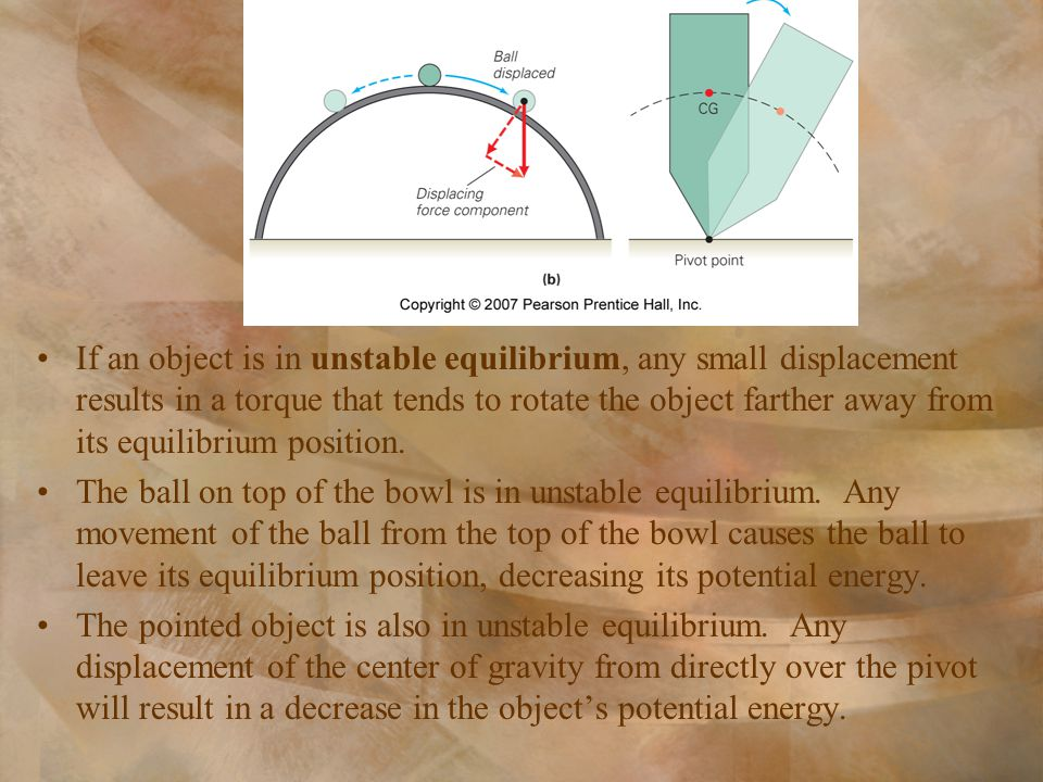 If an object is in unstable equilibrium, any small displacement results in a torque that tends to rotate the object farther away from its equilibrium position.