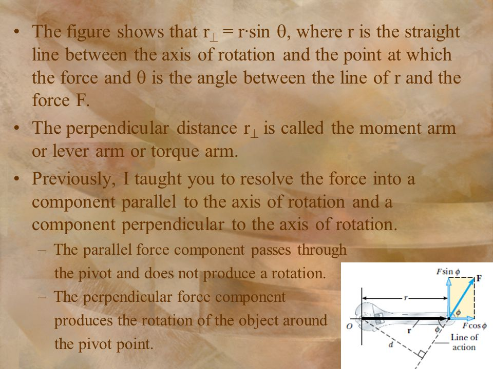 The figure shows that r = r∙sin , where r is the straight line between the axis of rotation and the point at which the force and  is the angle between the line of r and the force F.