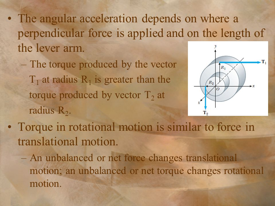 The angular acceleration depends on where a perpendicular force is applied and on the length of the lever arm.