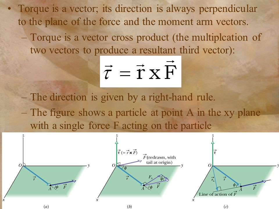 Torque is a vector; its direction is always perpendicular to the plane of the force and the moment arm vectors.