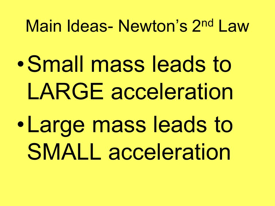 Main Ideas- Newton's 2nd Law