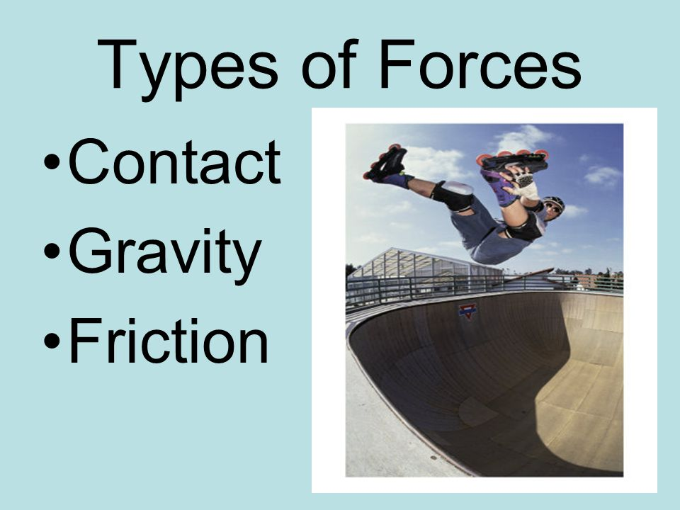 Types of Forces Contact Gravity Friction