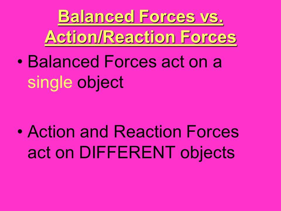 Balanced Forces vs. Action/Reaction Forces