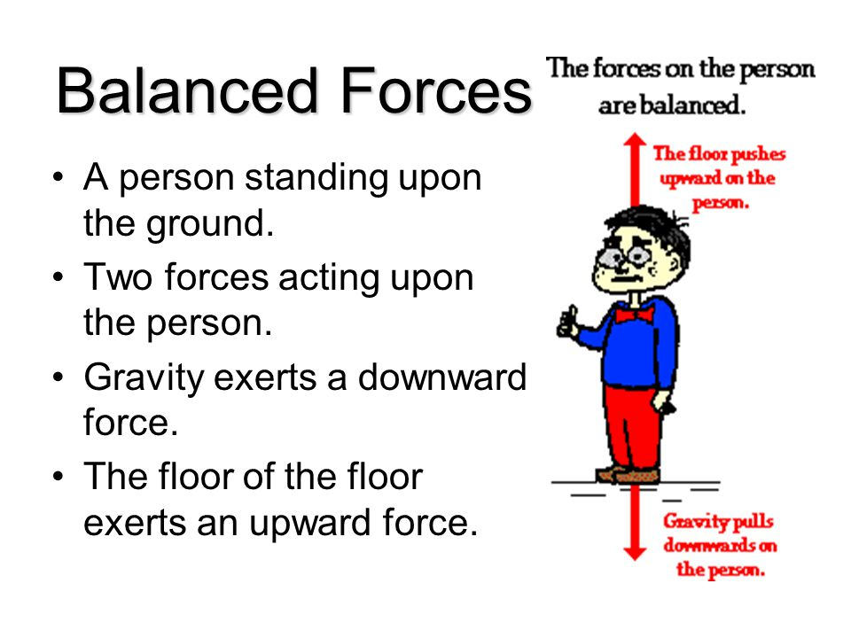 Balanced Forces A person standing upon the ground.