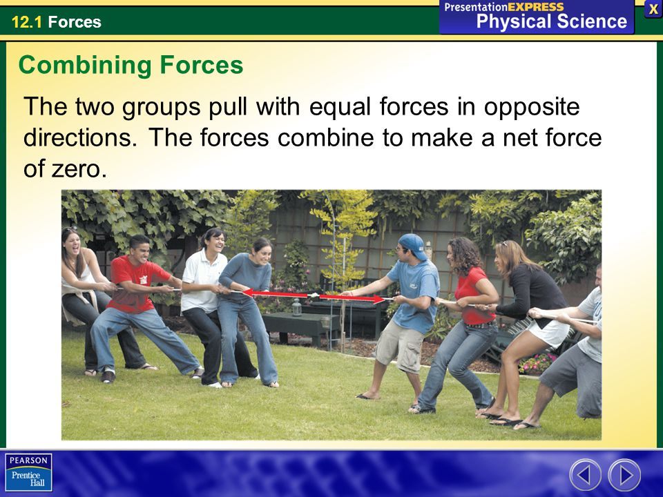 Combining Forces The two groups pull with equal forces in opposite directions.