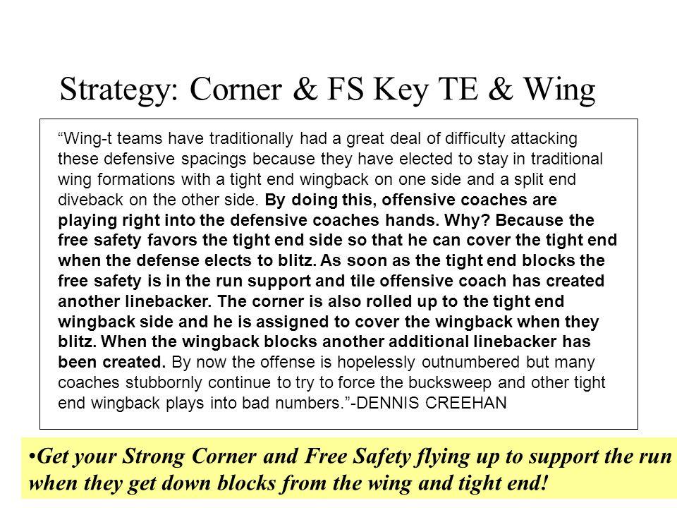 Strategy: Corner & FS Key TE & Wing